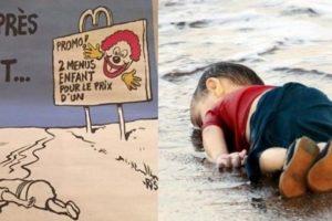 """بالصور شاهد كيف سخرت مجلة """"شارلي إبدو"""" الفرنسية من الطفل السوري الغريق إيلان كردي"""