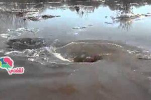 بالفيديو | ظهور حفرة فى نهر تبتلعه بالكامل هو وكل ما عليه سبحان الله