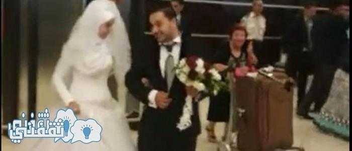 عريس مصرى يستقبل عروسته فى مطار عمان بالزفة البلدى و فرحة عارمة داخل المطار