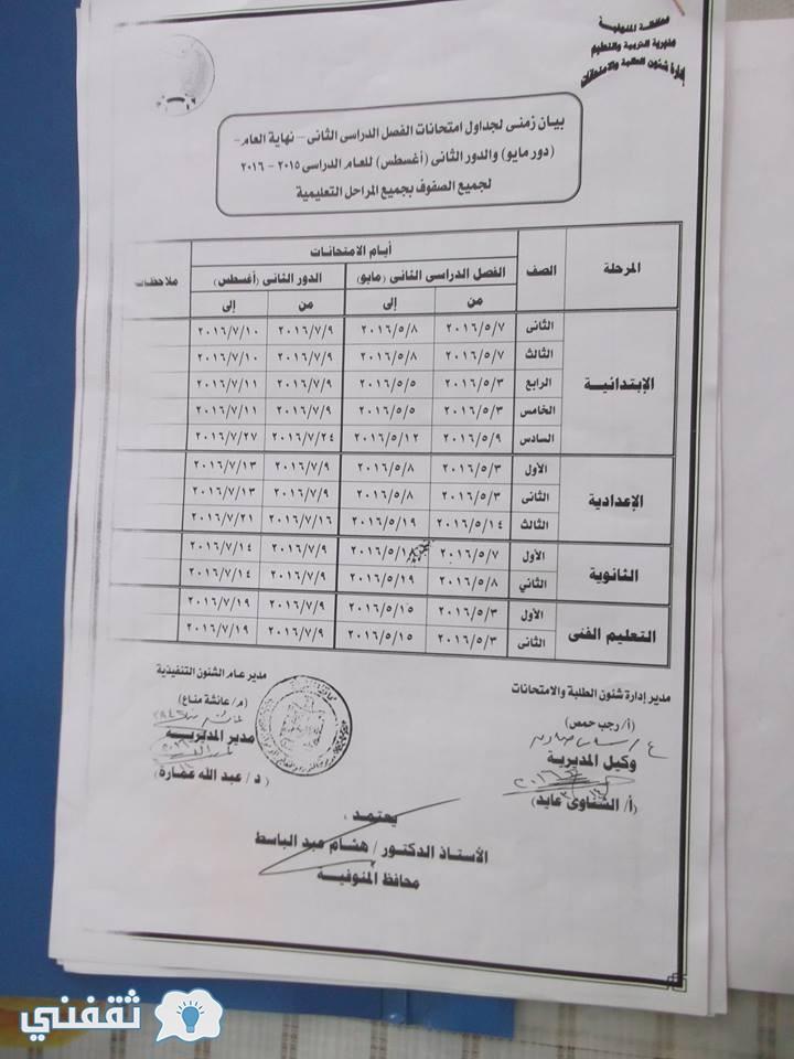جدول امتحانات المنوفية