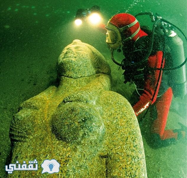 تمثال للملكة كليوباترا من عصر البطالمة تحت البحر طوله 4.9 متر ووزنه 6 طن