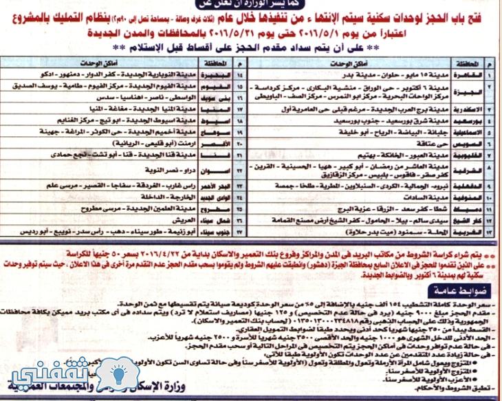 اعلان شقق وزارة الاسكان الإجتماعي 2005
