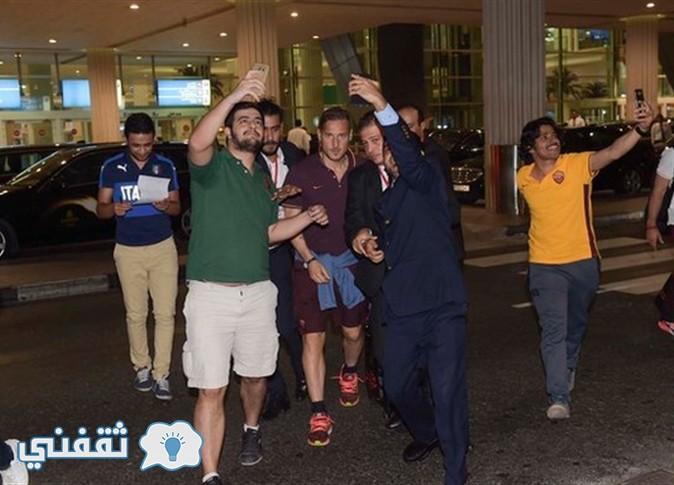 لحظة وصول فريق روما  مطار دبى