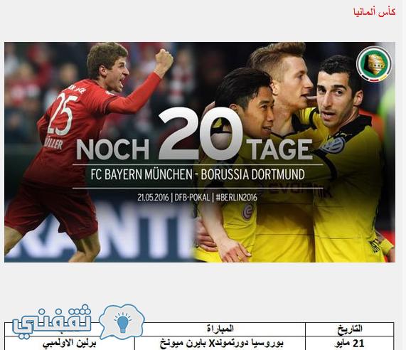 موعد مباراة نهائي كأس ألمانيا 2016
