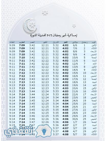 مواقيت-الصلاة-في-مكة-والمدينة خلال شهر رمضان
