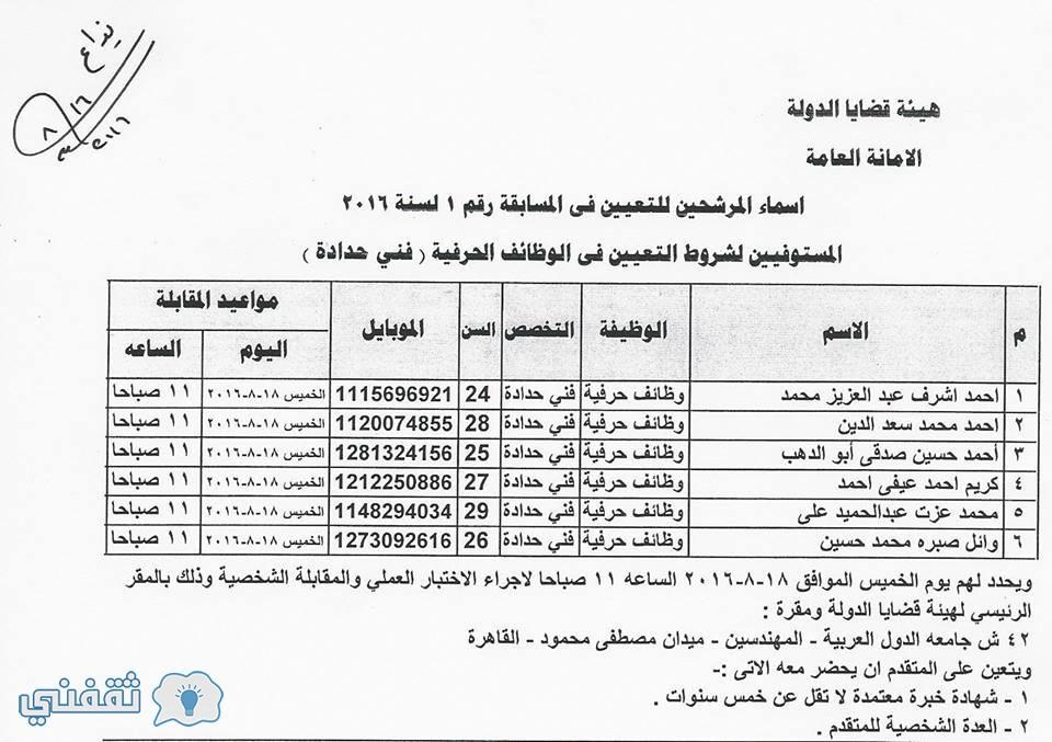 اسماء المستوفيين شروط التعينات بوظائف هيئة قضايا الدولة فني تنجيد مقاعد (1)