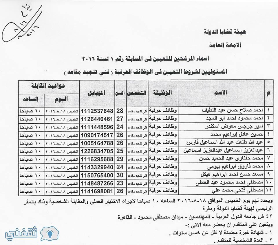 اسماء المستوفيين شروط التعينات بوظائف هيئة قضايا الدولة فني تنجيد مقاعد (2)
