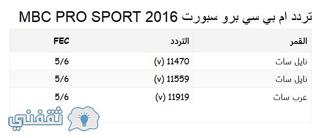 التردد الجديد لقنوات MBC PRO SPORTS لمتابعه الدوري السعودي وكاس ولى العهد
