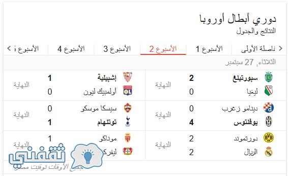 نتائج مباريات اليوم
