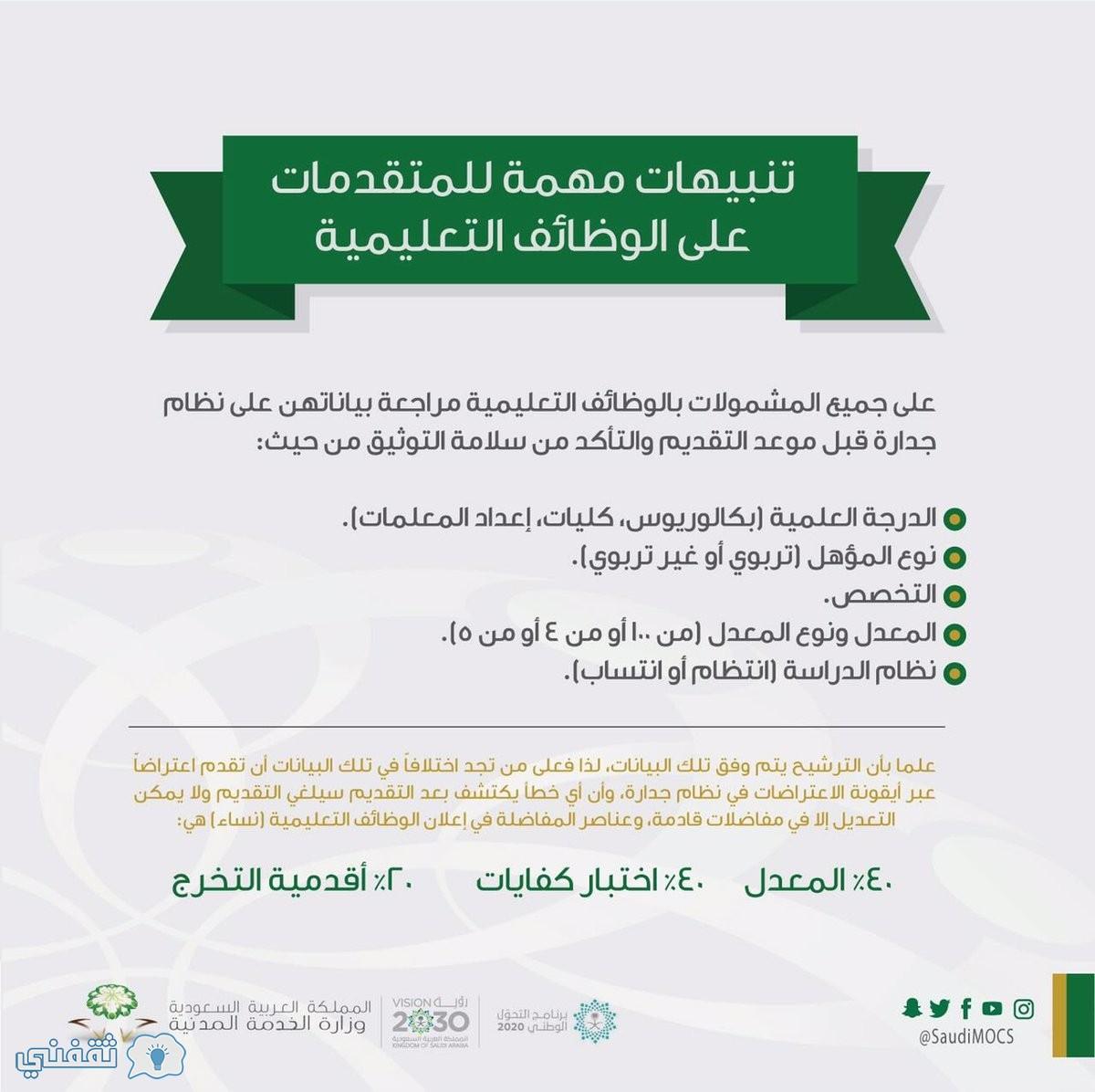 اولويات التقديم على الوظائف النسائية التعليمية
