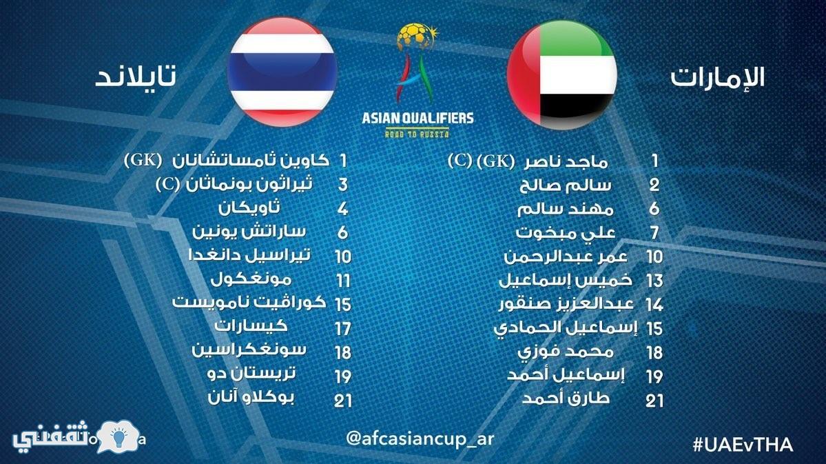 نتيجة مباراة الامارات وتايلند اليوم