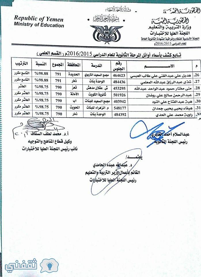 أسماء أوائل الثانوية العامة في اليمن 2016