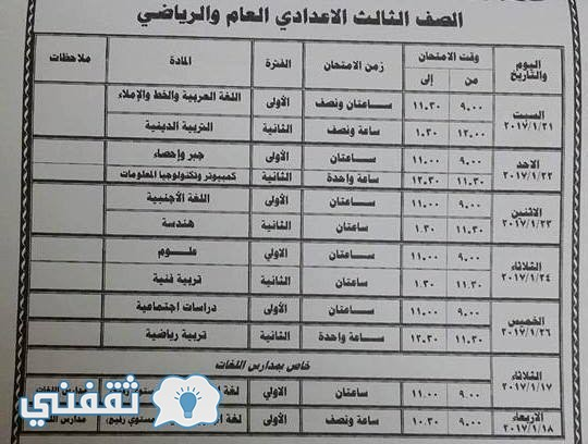 جدول امتحان الصف الثالث الاعدادى