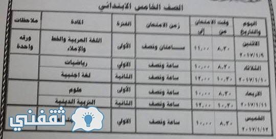 جدول امتحان الصف الخامس الابتدائى