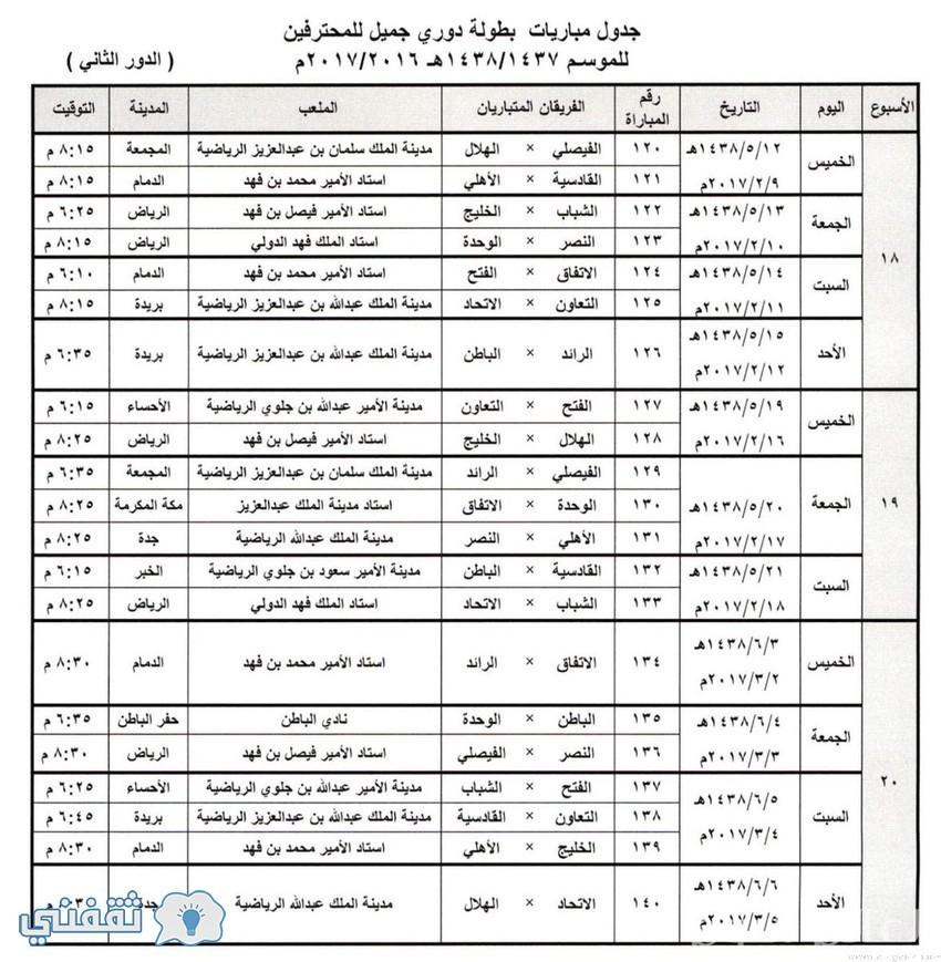ترتيب الدوري السعودي ،أقرت لجنة المسابقة باتحاد الكرة السعودي اليوم، وبعد توقف مباريات الدوري السعودي بانتهاء مباراة الاتحاد والخليج