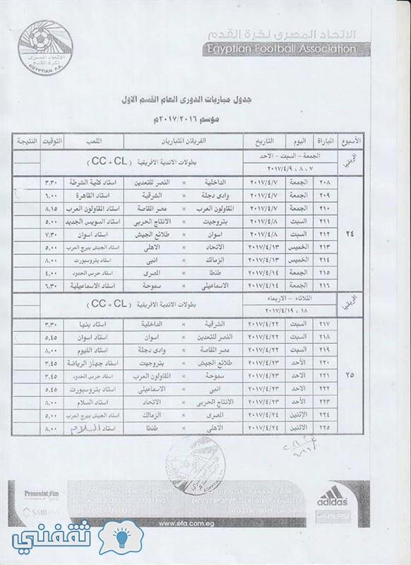 مواعيد مباريات الأهلي والزمالك القادمة فى الدورى المصري 2017 الدور
