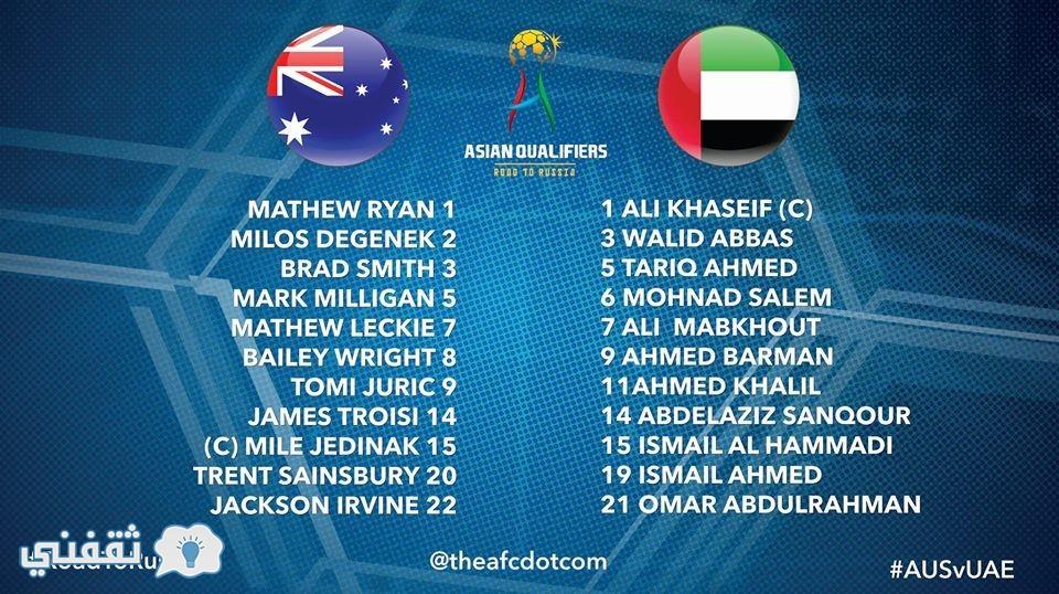 التشكيل الرسمي لمباراة الإمارات وأستراليا