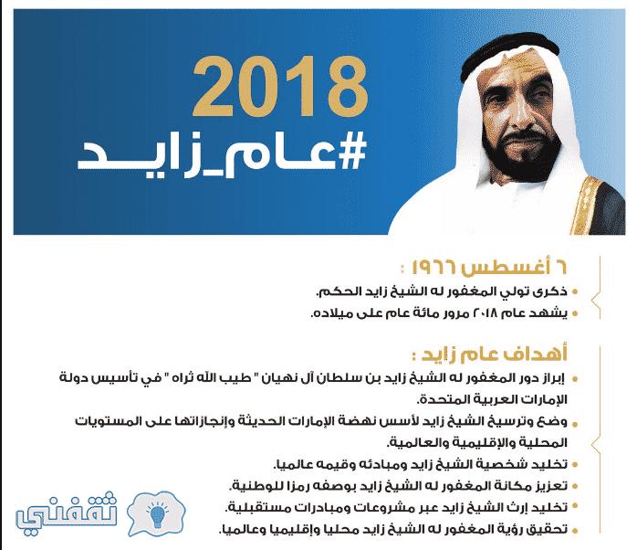 """عام زايد 2018 .. الإمارات تطلق اسم الشيخ زايد على عام 2018 """"مئوية زايد"""""""