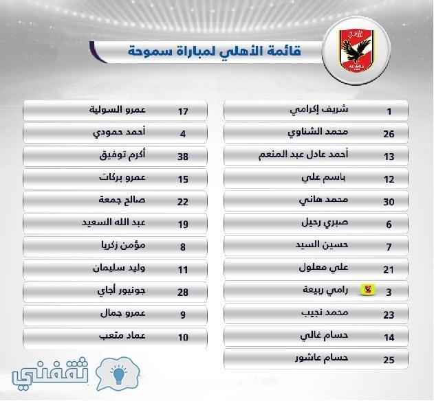 قائمة الأهلي أمام سموحة كأس مصر