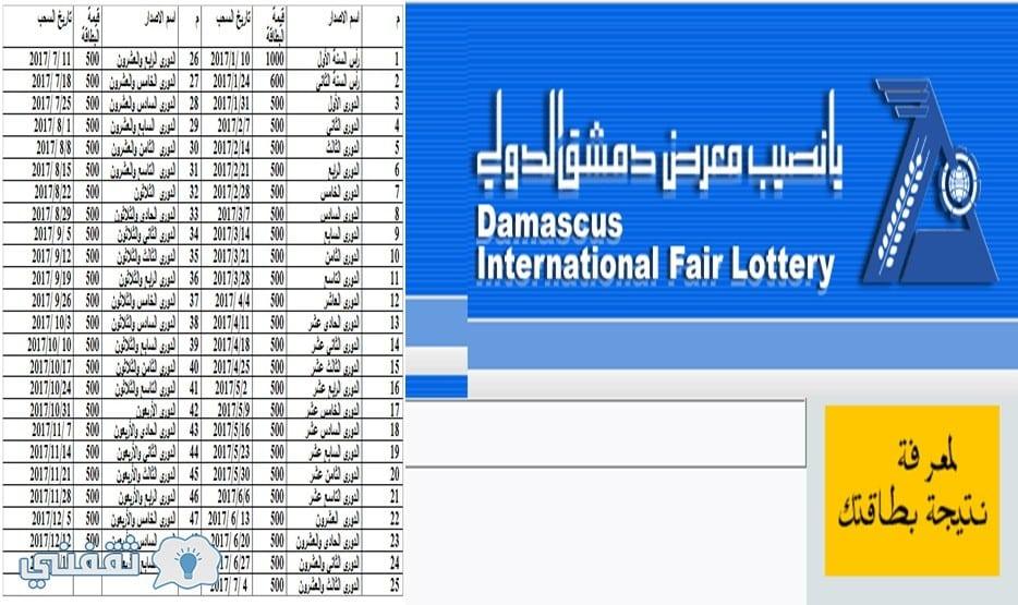 نتيجة بحث الصور عن نتائج سحب يانصيب معرض دمشق الدولى ثقفنى