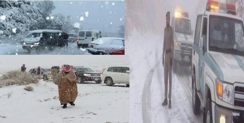 الأمطار الثلجية تعطل حركة المرور في السعودية