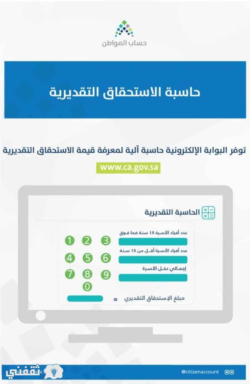 حاسبة الاستحقاق حساب المواطن التقديرية .. أمثلة توضيحية ...