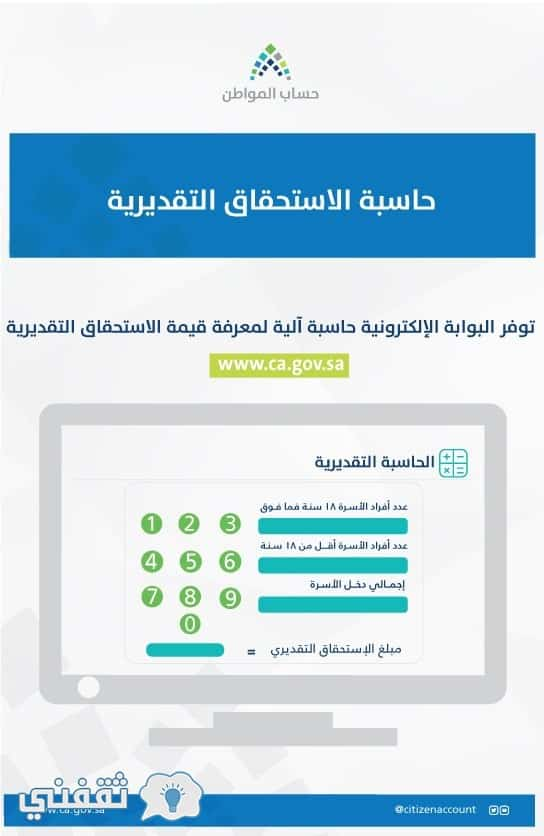 حاسبة حساب المواطن التقديرية لصرف الدفعة الثالثة من الاستحقاقات فجر اليوم