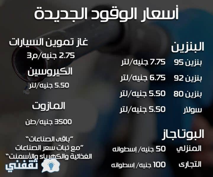أسعار الوقود الجديدة في مصر 2018