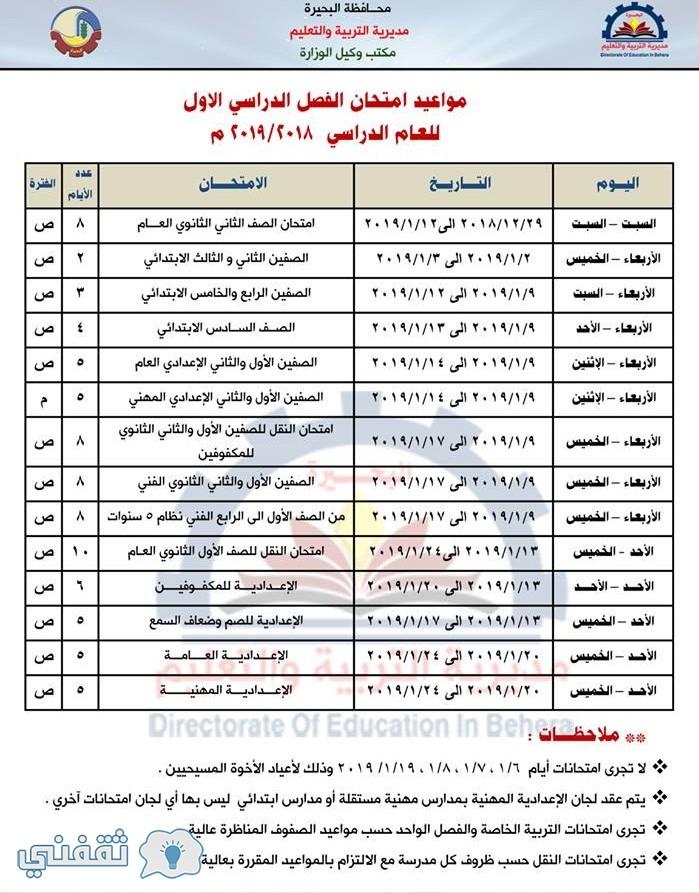 جدل ومواعيد امتحانات محافظة البحيرة 2019 الترم الأول