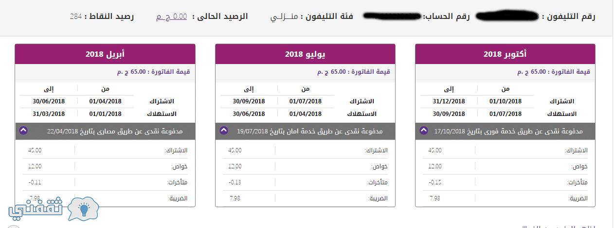 فواتير المصرية للإتصالات