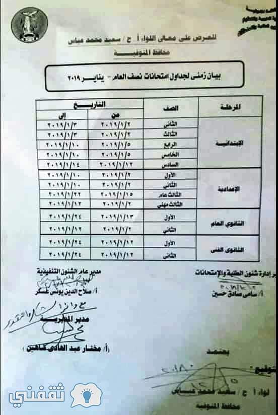 جدل ومواعيد امتحانات محافظة المنوفية 2019 الترم الأول