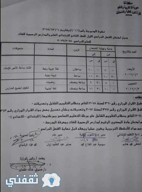 جدل ومواعيد امتحانات محافظة قنا 2019 الترم الأول