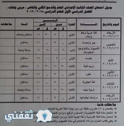 جدل ومواعيد امتحانات محافظة الجيزة 2019 الترم الأول