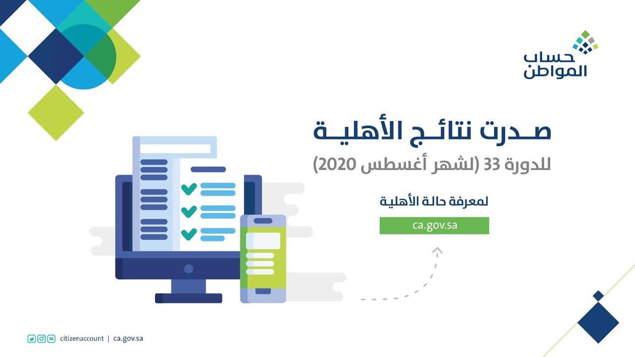 النتائج الأهلية للدفعة 33 من حساب المواطن