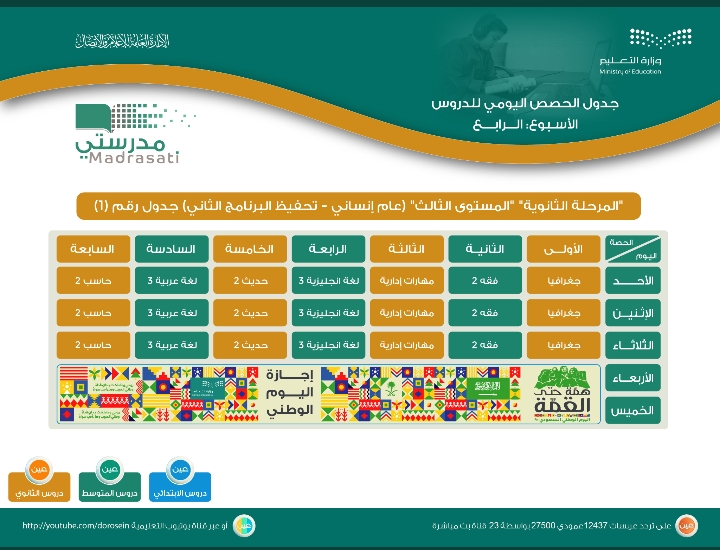 جدول دروس الحصص اليومية الأسبوع الرابع للمرحلة الابتدائية والمتوسطة والثانوية