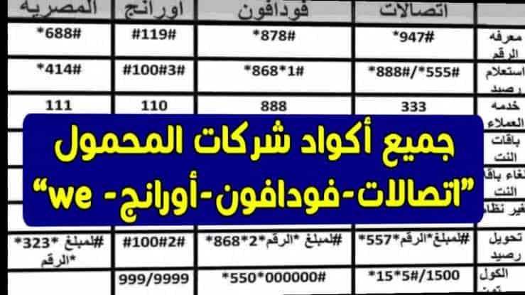 أكواد شركات المحمول المصرية