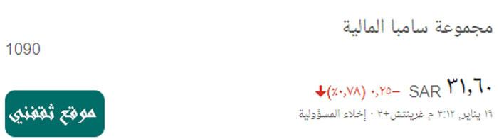 سعر سهم مجموعة سامبا المالية