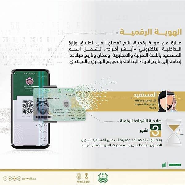 تطلق الاحوال المدنية بالمملكة النسخة الالكترونية للهوية الرقمية