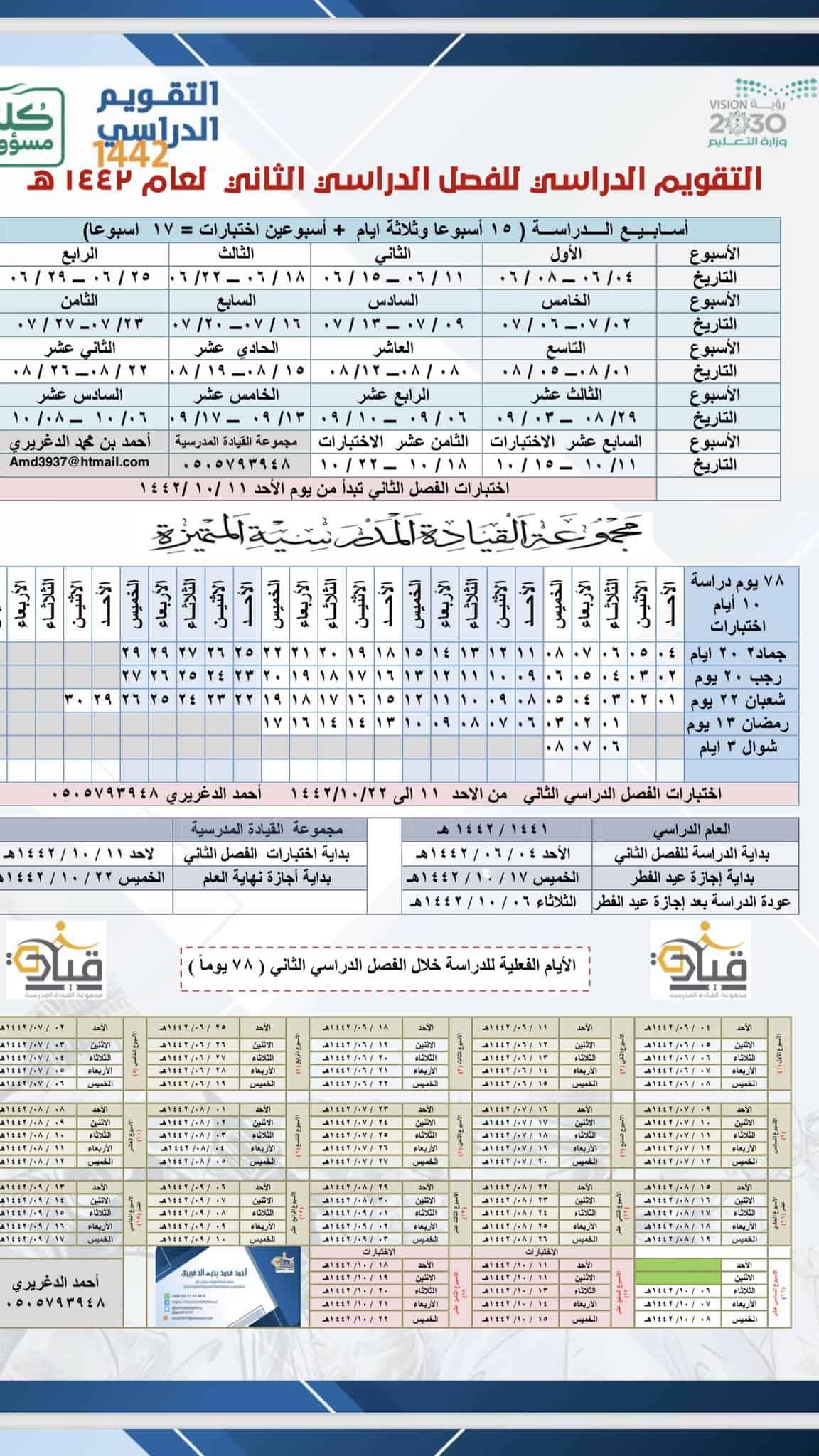 التقويم الفصل الدراسي الثاني 1442