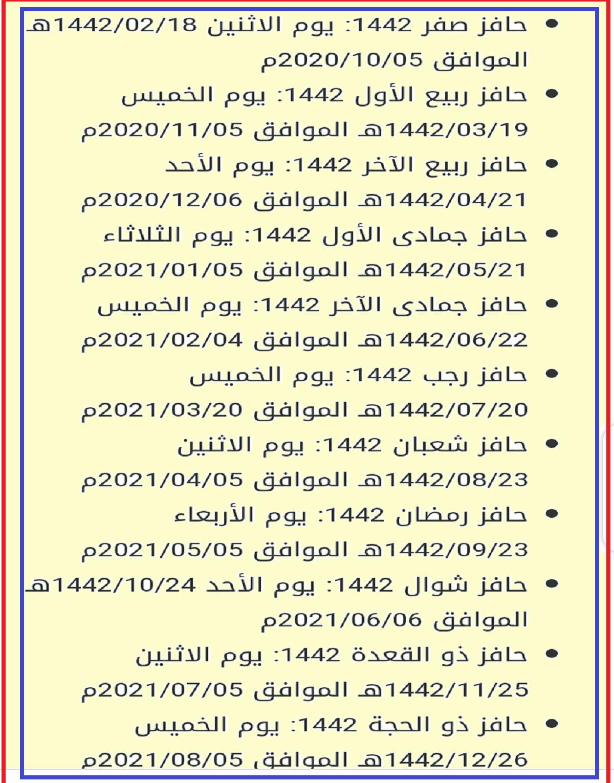 جدول صرف رواتب حافز 1442