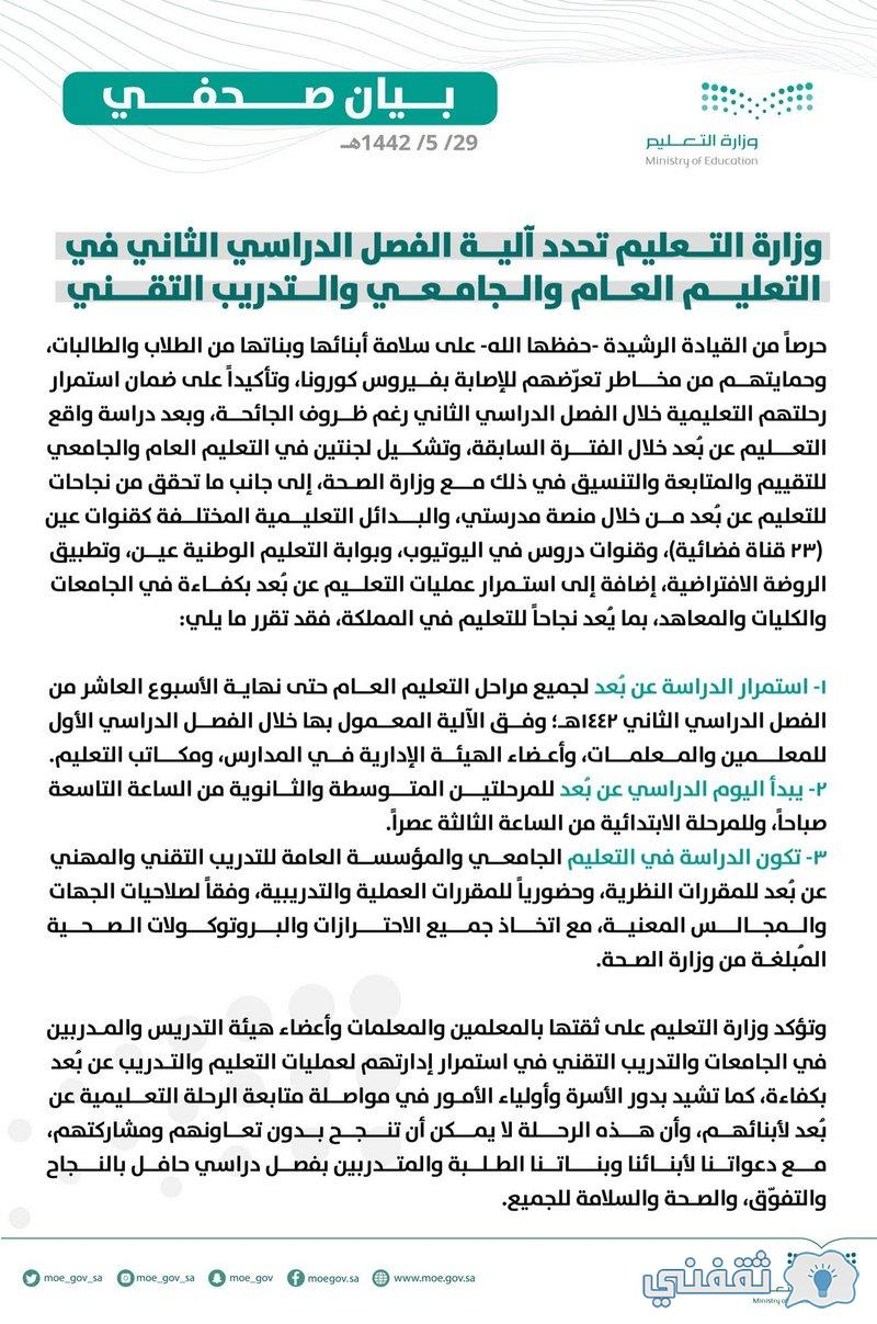 Statement of the Ministry of Education