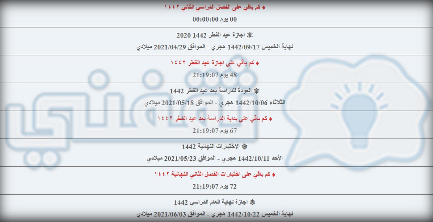 كم باقي على نهاية الترم الثاني 1442 العد التنازلي اجازة نهاية العام السعودية ثقفني
