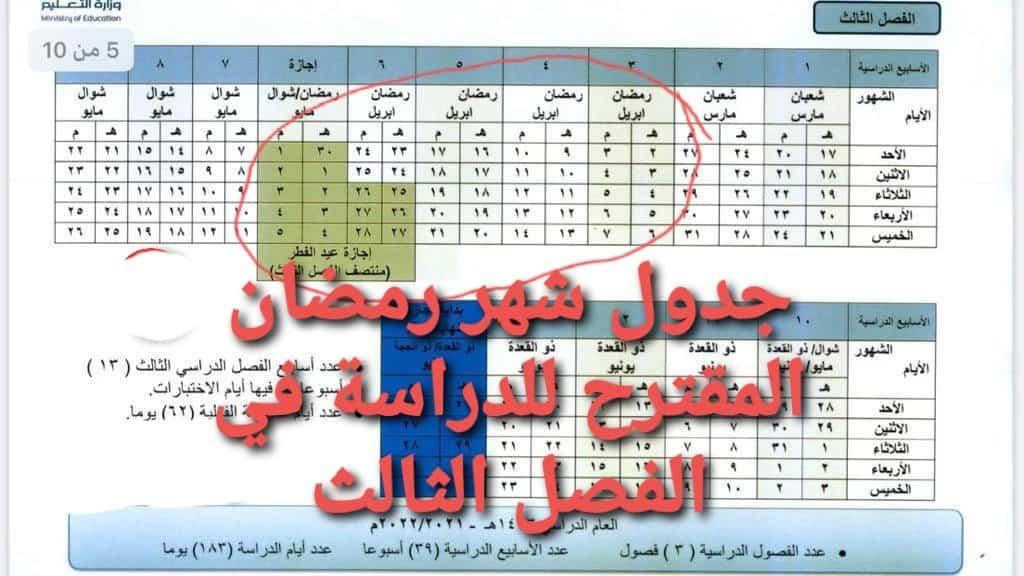 الدراسة بالسعودية الفصل الثالث في شهر رمضان 1443