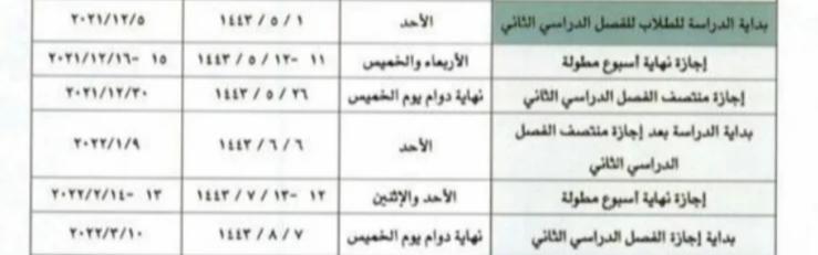 الجدول المقترح للعام الدراسي القادم في ثلاثة فصول بالمملكة العربية السعودية 1443