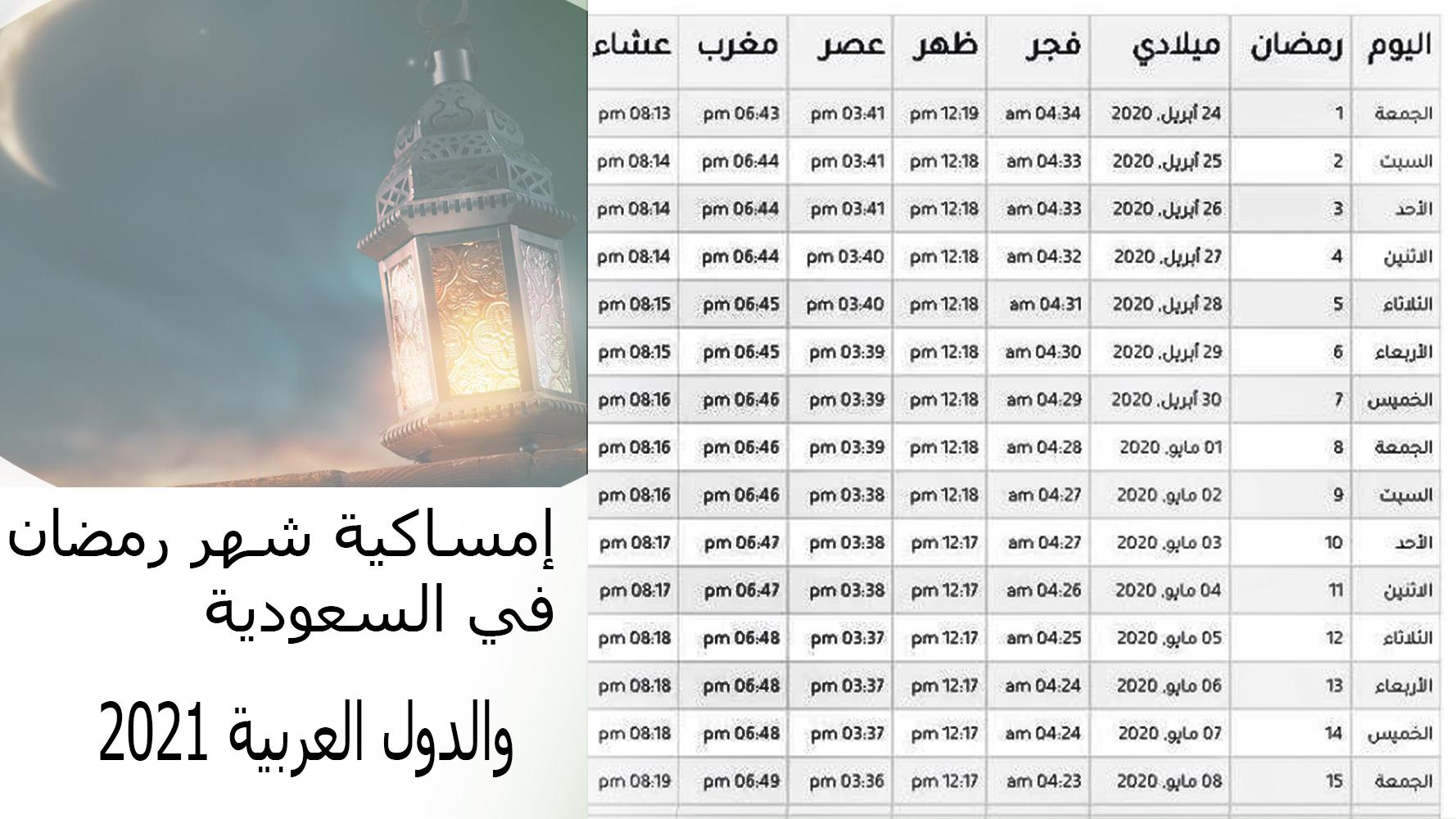 إمساكية شهر رمضان في السعودية والدول العربية 2021
