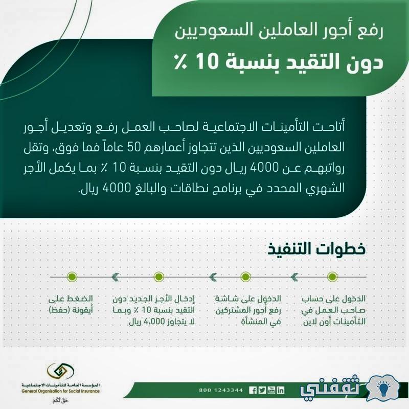 التأمينات رفع أجر العاملين السعوديين