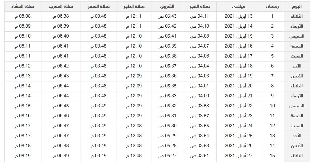 امساكية رمضان ١٤٤٢ العراق