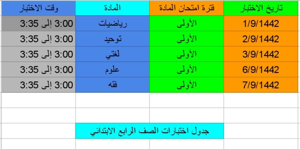 جدول اختبارات المرحلة الابتدائية الصف الرابع لعام 1442