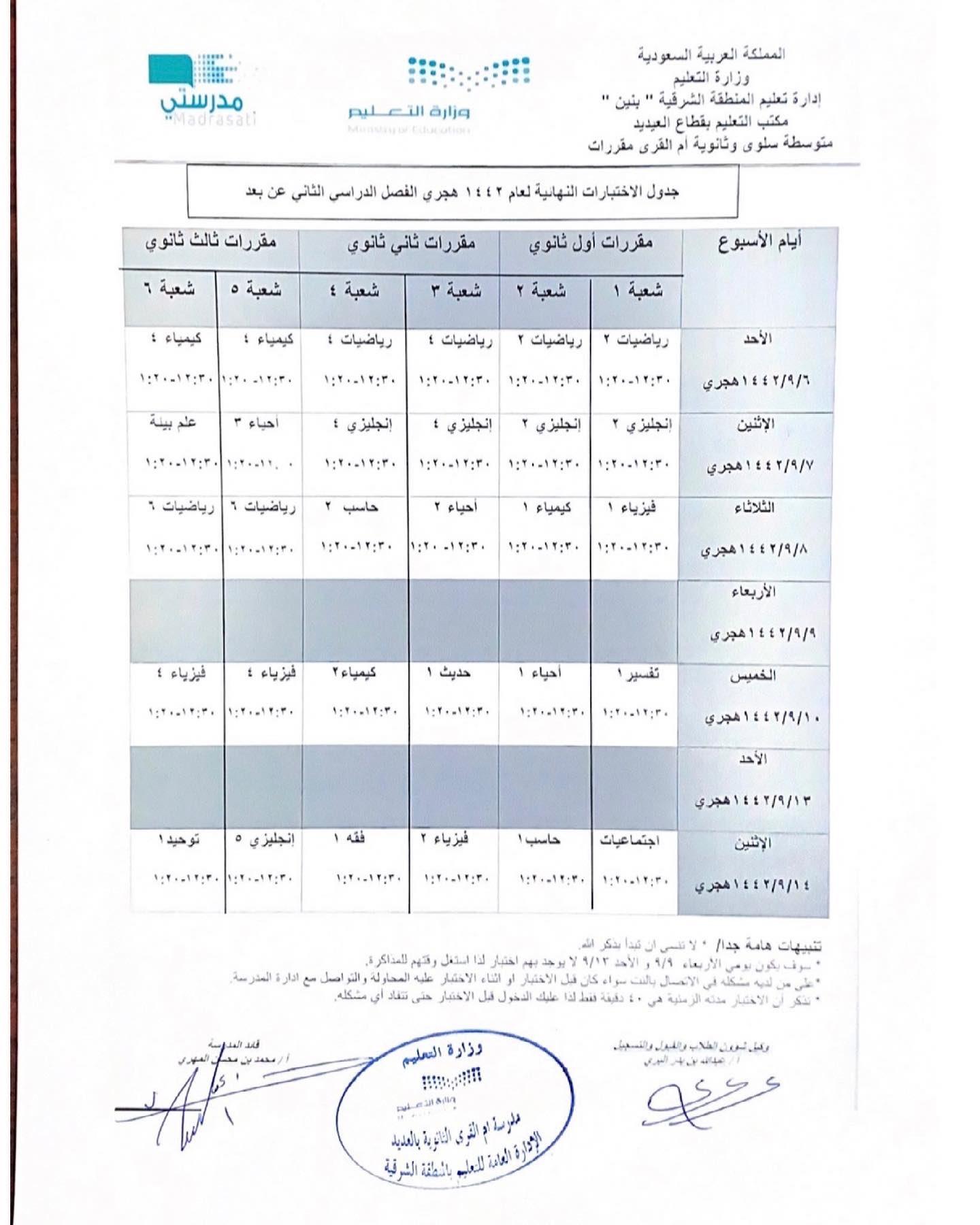 جدول الاختبارات النهائية لطلاب المملكة العربية السعودية الفصل الثاني 1442