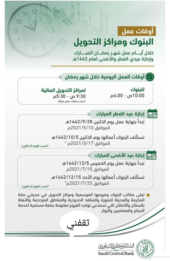 إجازة عيد الفطر للبنوك 2021 والقطاع الحكومي والخاص بالمملكة وموعد العودة